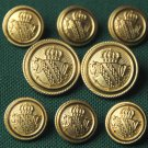 Mens Palm Beach 8 Piece Blazer Buttons Set Gold Metal Shield Crown