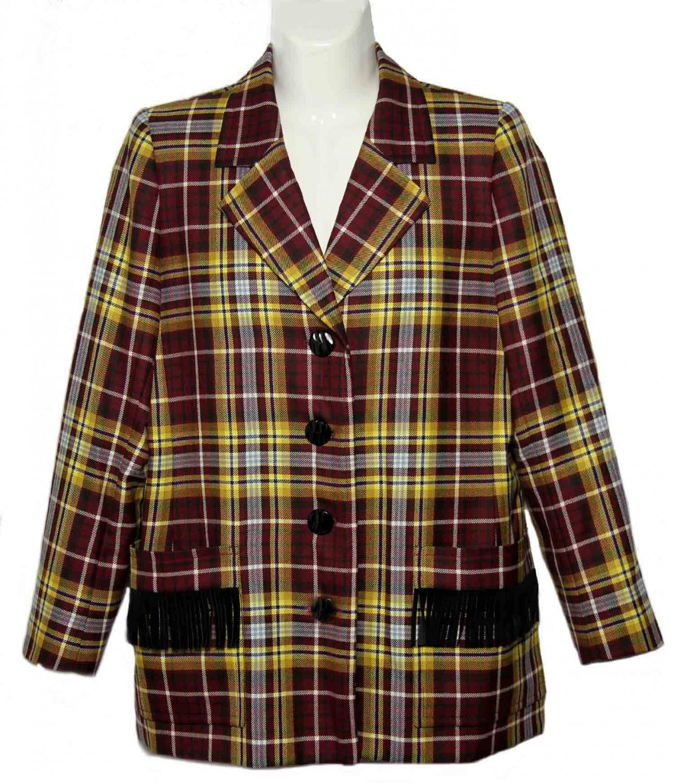 Womens Yves Saint Laurent Rive Gauche Blazer Plaid Wool Size 42 or USA 10