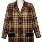 Womens Yves Saint Laurent Rive Gauche Blazer Plaid Wool Size 42 or USA 10