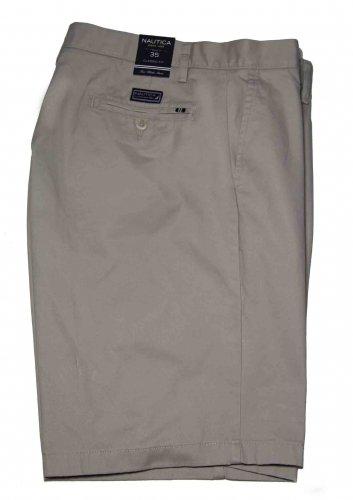 Mens Nautica Flat Front Chino Shorts Stone Khaki Size 35