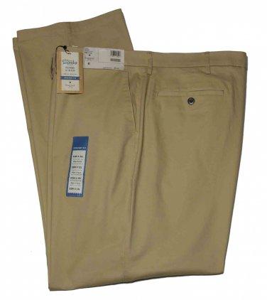 Men's Haggar Pants Chinos Khaki Flat Front Size 52 X 32 Big & Tall
