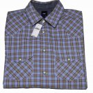 Men's Gap Western Shirt Plaid Brown Blue Size Small