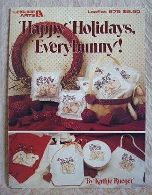 Happy Holidays Everybunny Cross Stitch Bunnies Pattern