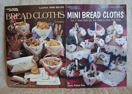 2 Bread Cloth Cross Stitch Leaflets Mini Bread Cloths