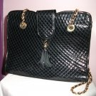 c1980's BLACK PATENT QUILTED-LIKE  SHOULDER HANDBAG