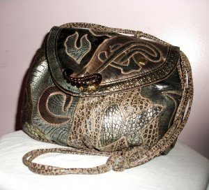 c1970's NAS BAG w FAUX LEATHER w REPTILE PATCHED PATTERN
