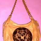 LARGE TAN LEATHER HYSTERIA-STYLED HANDBAG w GOLD TONE ROUND METAL TIGER LOGO EMBELLISHMENT by NOIR