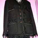 c1980s VINTAGE CHANEL BLACK WOOL SUIT JACKET w BLACK FUR TRIM