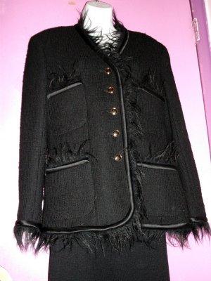 c1980s VINTAGE CHANEL BLACK WOOL SUIT JACKET w BLACK FUR TRIM