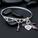happy face heart charm double bangle sterling silver bracelet