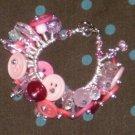 Pink Buttons fringe Bracelet