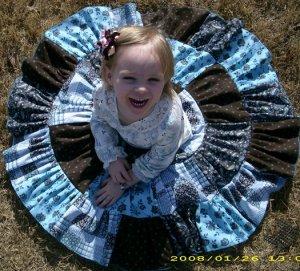 Custom Boutique Twirl Skirt, Teal Pink Brown