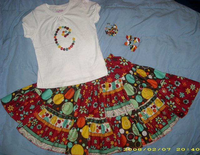 Custom Boutique OUTFIT bows, bracelet, skirt and shirt
