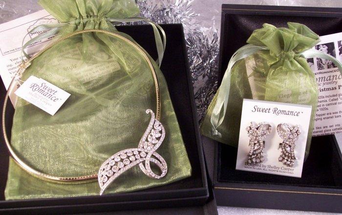 Sweet Romance Swarovski Crystal Ribbon Necklace & Earrings Demi Set