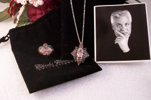 Charles Winston Sterling Silver Pink & Green CZ Pendant & Ring Set New 925 SS