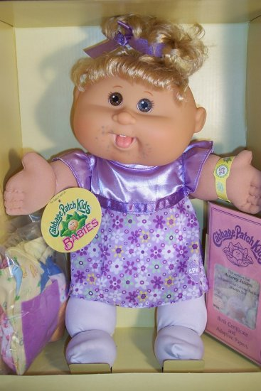 New Cabbage Patch Doll 25th Anniversary Celebration Aubrey Jaiden 3/3 Blonde Girl Party Dresses