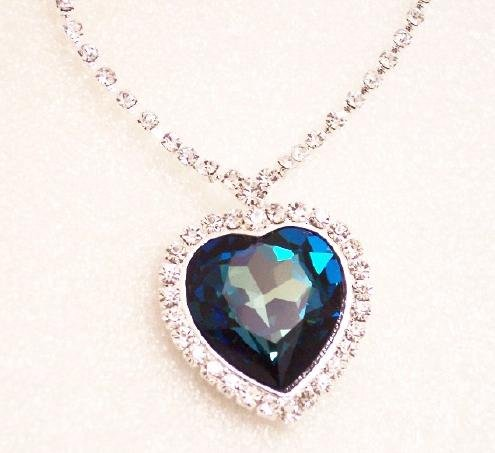 New Heart of the Ocean Necklace Titanic Blue Sapphire Swarovski Crystal Pendant
