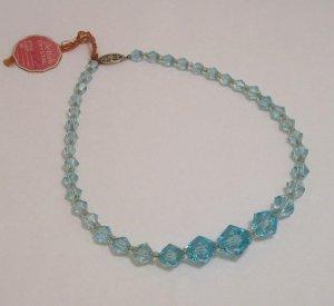 Vintage Art Deco Deltah Faceted Blue Crystal Necklace on Gold Filled Chain NOS
