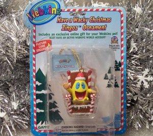 Webkinz Brand New Have a Wacky Christmas Zingoz Ornament WE000436 Sealed Code