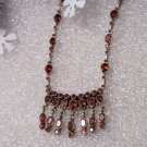 Sterling Silver Garnet Gemstone Drop Dangle Necklace Curb Chain 20""