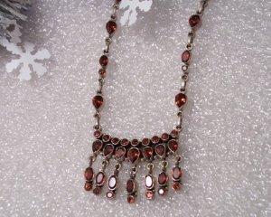 "Sterling Silver Garnet Gemstone Drop Dangle Necklace Curb Chain 20"""