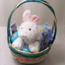 New Birthday or Easter Jeweled Turquoise Basket with Webkinz Rabbit Cards Bracelet & More