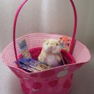 New Birthday or Easter Pink Polka Dot Sun Hat Gift Basket Webkinz Mazin' Hamster Cards Bookmark
