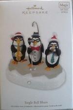 2011 Hallmark Jingle Bell Blues Penguins Magic Light Sound Motion New Ornament
