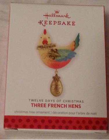 2013 Hallmark 3 Three French Hens Twelve Days of Christmas 3rd Series Ornament New