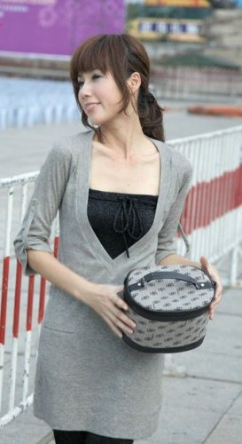 SOLD OUT eBeauty*63009 - Grey Designer deep low V Cut Shirt Style Top (inner tube is excluded)