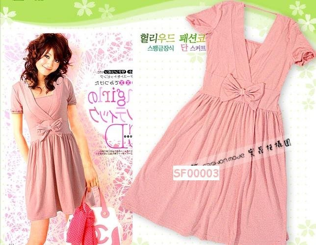 eBeauty*00003 - Pink V neck Korean Cute Short Dress (comes with inner tube wear)