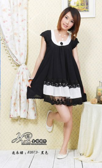 SOLD OUT eBeauty*313 - Black Glamorous cute Korean Dress (with 2 layer of lace décor at the bottom)