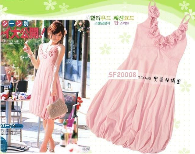 eBeauty*20008 - Pink Korean Pretty Strapless Puffy Dress (with little blossoms décor on top)