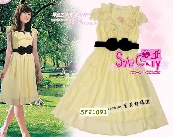 NEW ARRIVAL eBeauty*44201 Yellow  Chiffon Feminine korean stylish dress