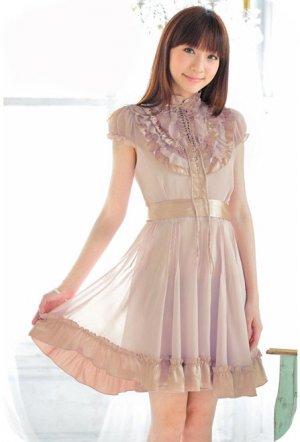 eBeauty*315 - Pink purple nice chiffon + satin Korean Dress