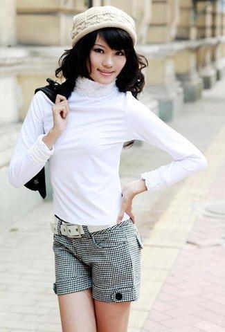eBeauty*71007 � White high color lace cotton long blouse
