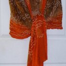 Free Shipping Large Wrap Scarf Stretchy Puckered Material Earthy Colors Signed  LD