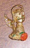 Retro 1950's Pin Angel w/ Rhinestones Holding Flowers Free Shipping