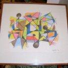 Original Abstract Drawing by Charles Melohs / 1976 / Free Shipping