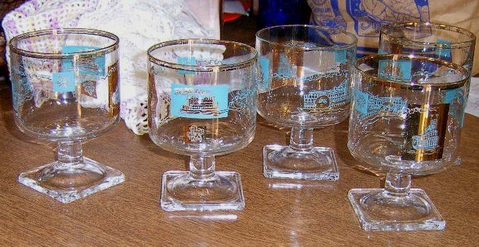 Free Shipping 5 Retro 1950's Bar Cocktail Glasses Gold Trim Steamship Decals