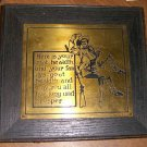 Framed Tin Plaque Colonial Man / To Your Goot Healdth.. Free Shipping