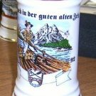 1992 German Beer Stein Depicts Man on Raft / Shield Free Shipping