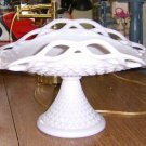 Milk Glass Pedestal Dessert Dish with Lacy Edge c. 1950's Free Shipping