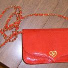 Free Ship Lionhart Red Faux Lizard Purse New Canaan Ct Nice Condition