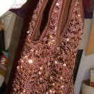 Free Shipping Bueno Bronze Mesh with Sequins Urban Gypsy  Hobo Style  Bag / Purse