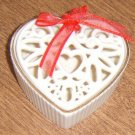 Lenox Porcelain Heart Shaped Trinket Box  or Potpourie with Open Filigree Top