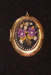 Vintage 1950's Gold Tone Locket with Petite Point Embroidery Cover Free Ship