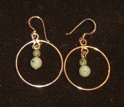 Sterling Hoop Earrings with Green Stone Drops / Free Ship