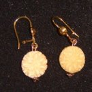 Pierced Earrings Faux Ivory Flower Drop Free Shipping