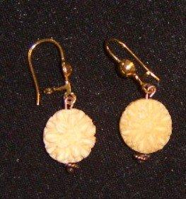 Pierced Earrings Faux Ivory Flower Drop Free Shipping